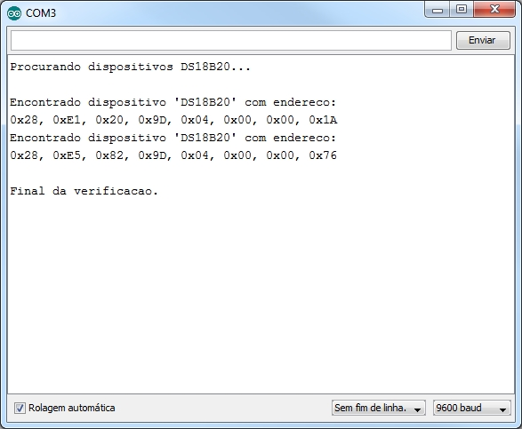 Serial monitor - Scan DS18B20