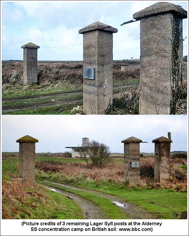 As Shown In Two Color Pictures, Three Concrete Posts With A Memorial Plaque  Are All That Remain Of Lager Sylt.