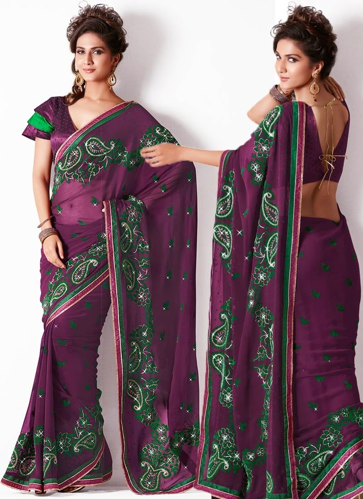 designer saree with blouse style