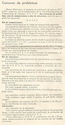 Bases para el I Concurso de Problemas de la Penya Obertura en 1936