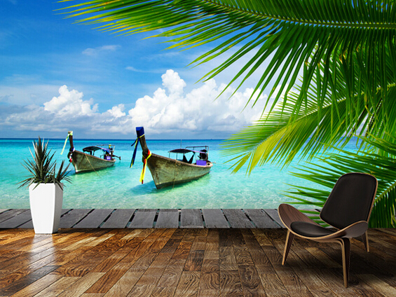 Tropical Wall Murals Beach Ocean 3D Photo Wallpaper Thailand Boat