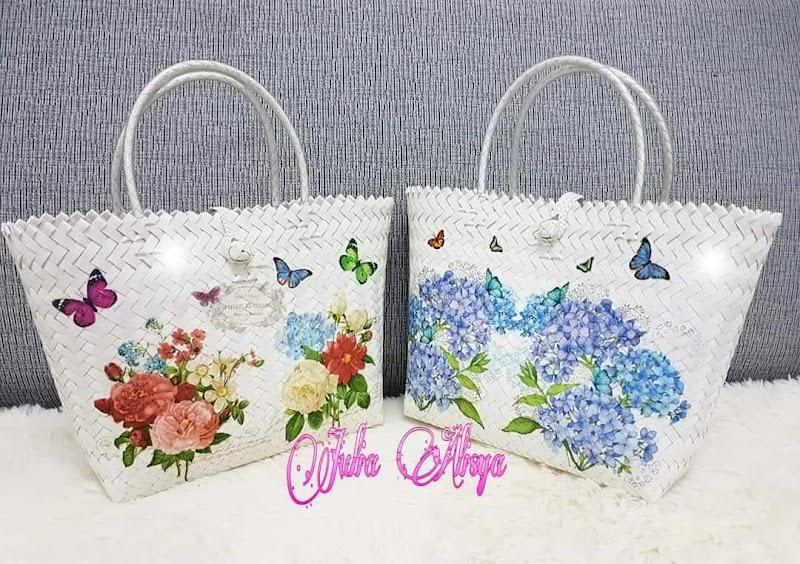 Beg Anyaman Dengan Design Shabby Rose Gaya Inggeris