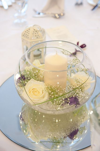 fish bowl masterpiece decoration idea with flowers and candles and many roses