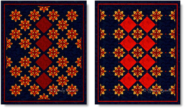 Quilts designed using the FIREWHEEL quilt block - images © Wendy Russell