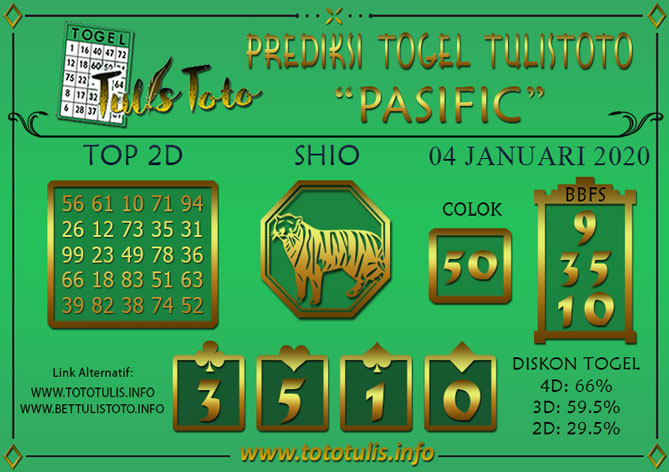 Prediksi Togel PASIFIC TULISTOTO 04 JANUARI 2020