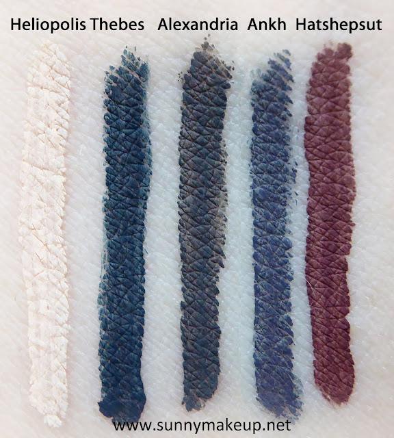 Neve Cosmetics - Ink Me. Da sinistra verso destra, gli eyeliner: Heliopolis, Thebes, Alexandria, Ankh, Hatshepsut.
