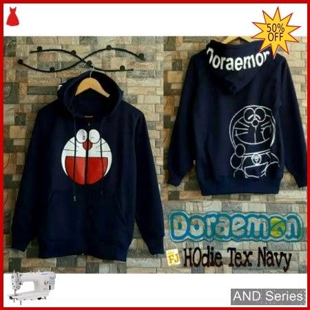 AND121 Sweater Wanita Doraemon Hoodie Text Biru BMGShop