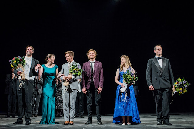 The six finalists of the Grange International Singing Competition, Bozidar Smiljanic, Katie Coventry, Dominic Sedgwick, Sam Furness, Rowan Pierce, Samuel Sakker  (Photo Robert Workman)