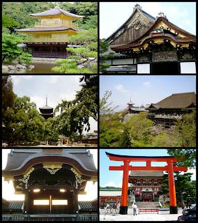 Una imagen compuesta por 6 fotografías correspondientes a Kinkaku-ji, Castillo de Ni-jo, To-ji, Kiyomizu-dera, Palacio Imperial y Fushimi Inari Taisha