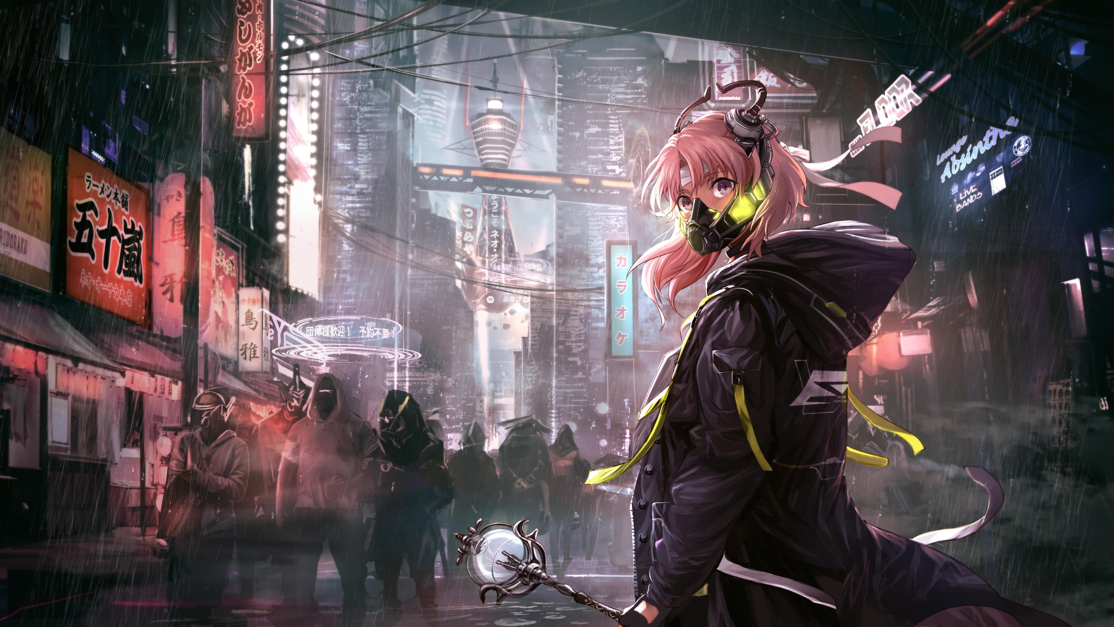 Anime, Girl, Mask, Cyberpunk, Sci-Fi, 4K, #168 Wallpaper