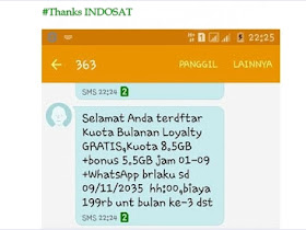 Trik Paket Internet 8 GB Indosat Ooredoo Gratis tanpa Pulsa