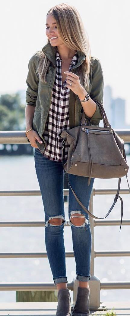 what to wear with s plaid shirt : jacket + bag + rips + boots