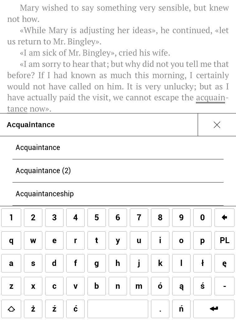 PocketBook Aqua 2 – wpisywanie słowa w słowniku