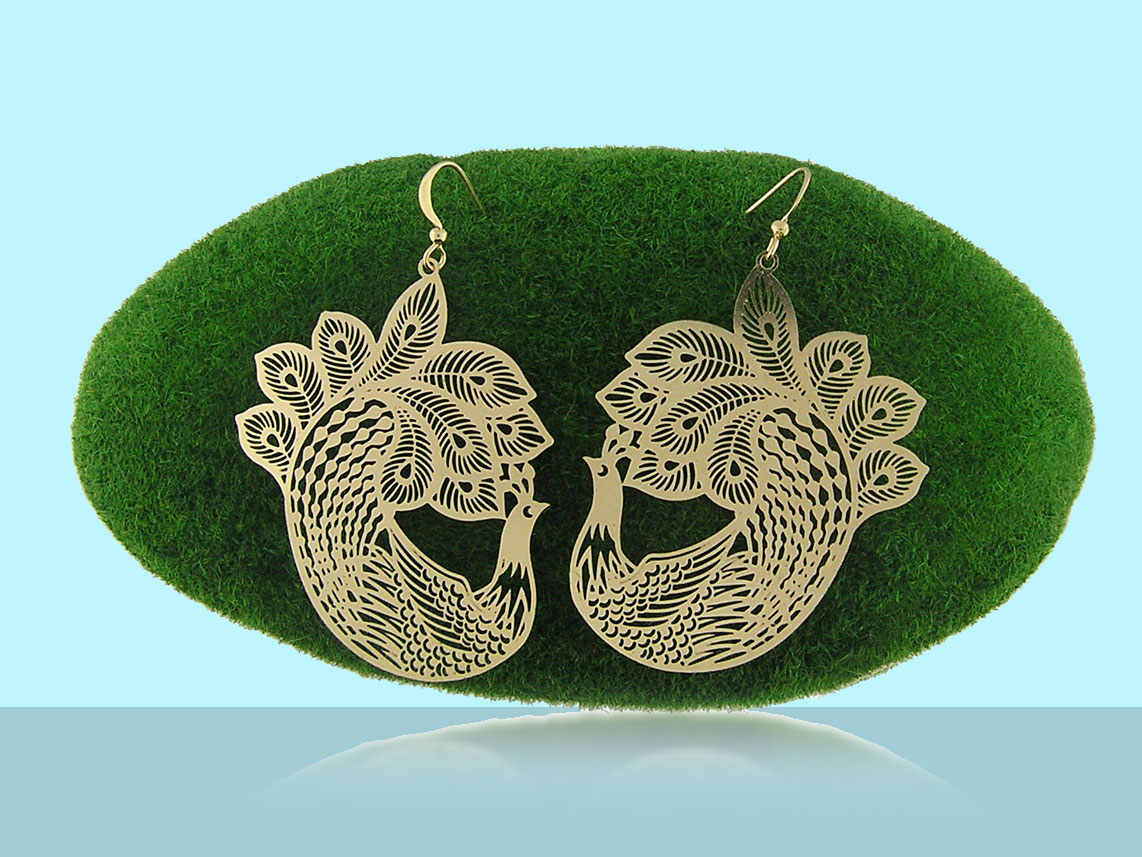 LAVISHY peacock filigree earrings