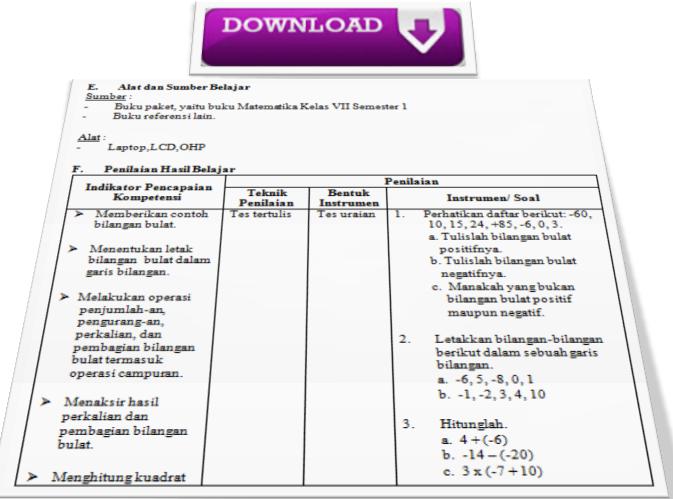 Rpp Matematika Ktsp 2006 Doc Kelas 7 8 9 Semester 1 Amp 2 Terbaru Tahun 2017 2018 Info Guru