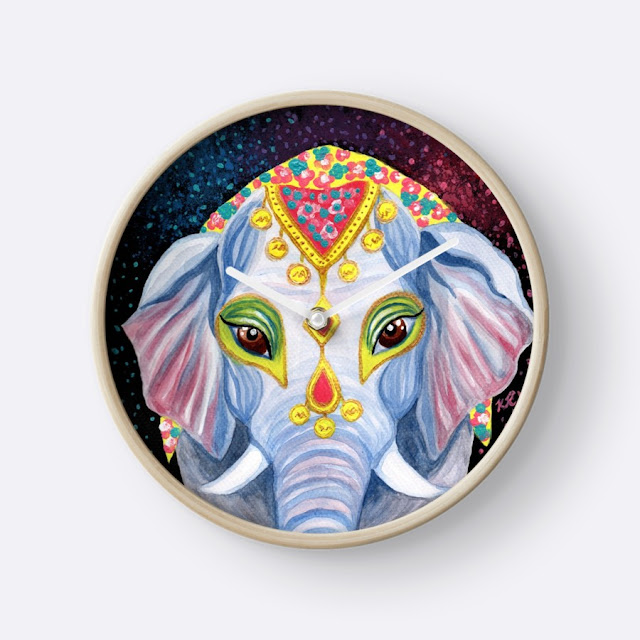 watercolor elephant clock