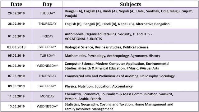 Higher Secondary Exam Routine