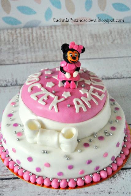Tort z Myszką Minnie na pierwsze urodziny