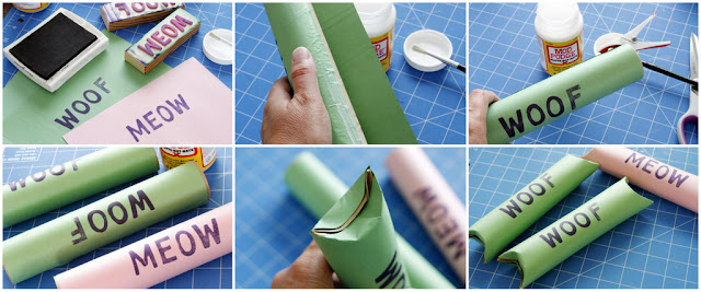 Dog and cat gift wrapping made from recycled cardboard tubes, wrapped and stamped with WOOF, MEOW