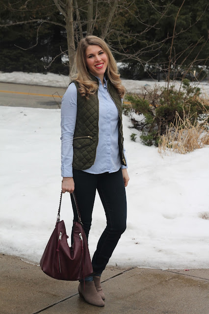 embellished collar button up paired with olive green quilted vest, dark skinny jeans, burgundy bag, suede booties