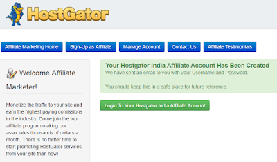 Hostgator affiliate account created message