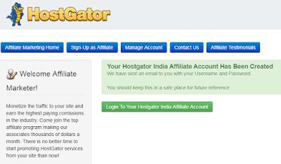Hostgator affiliate account created message
