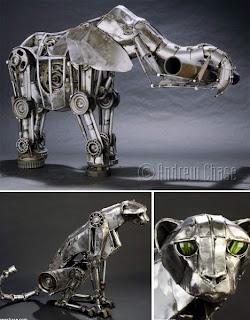 animales hechos con metal