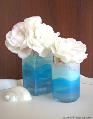 colored vases with tissue paper