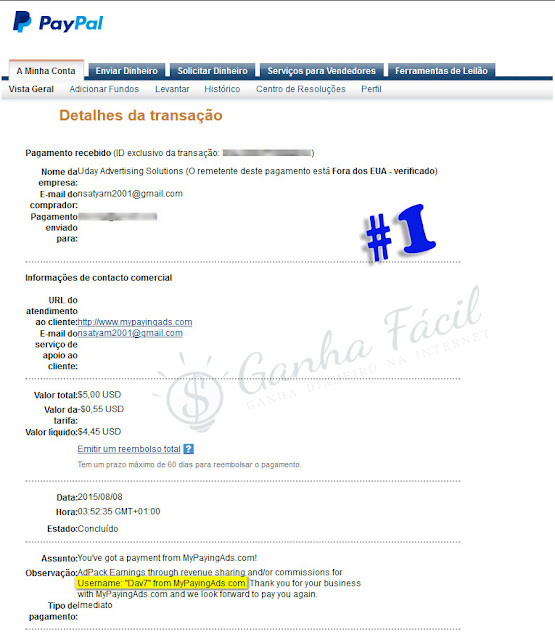 mypayingads pagamento paypal comprovativo proof payment dinheiro ganha ganhar cashout payout