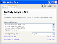 Download Get My Keys Back to Recover Windows and Office Serial Number