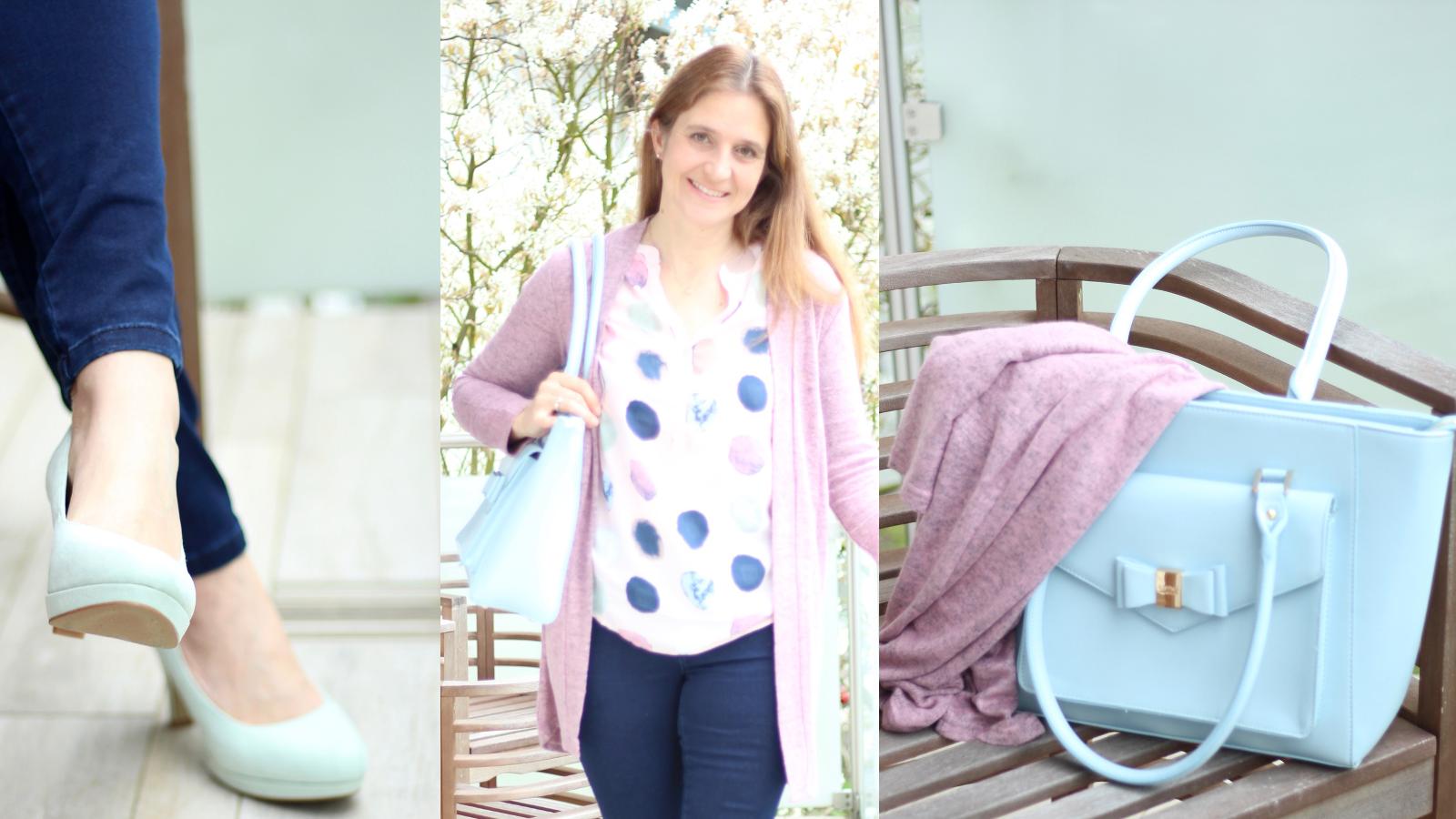 Fashion Friday: Super lässiges Outfit für die Stadt in hellblau, dunkelblau und rosa