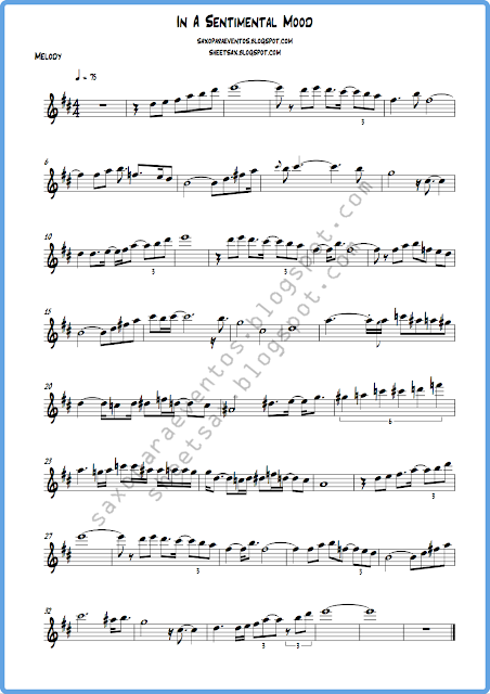 Sheet Music And Playalong Of In A Sentimental Mood By John Coltrane