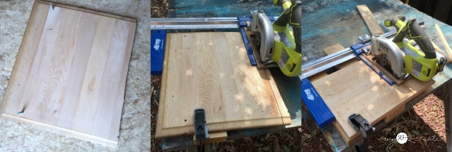 cutting a base board for a trivet