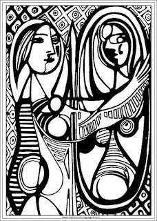 girl before a mirror printable pablo picasso art coloring pages
