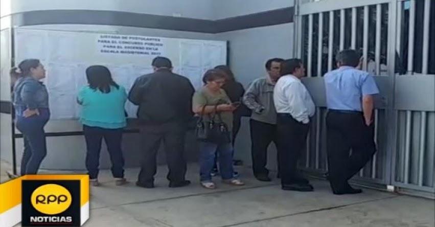 Decenas de docentes de Lambayeque llegaron tarde para rendir examen de ascenso pero no lograron ingresar a local de evaluación