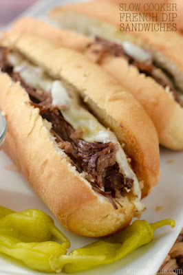 The BEST Slow Cooker or Instant Pot French Dip Sandwiches featured on SlowCookerFromScratch.com