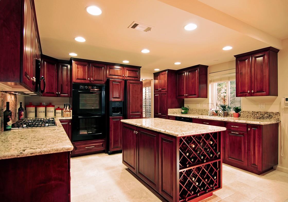 Red Mahogany Kitchen Cabinets Home Interior Exterior Decor Design Ideas
