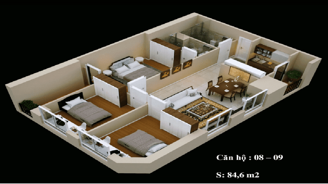 Mặt bằng căn hộ 08-09