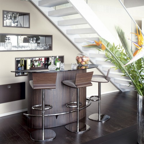 Home interior decorating ideas utilizing area under stairs - Living room bar ideas ...