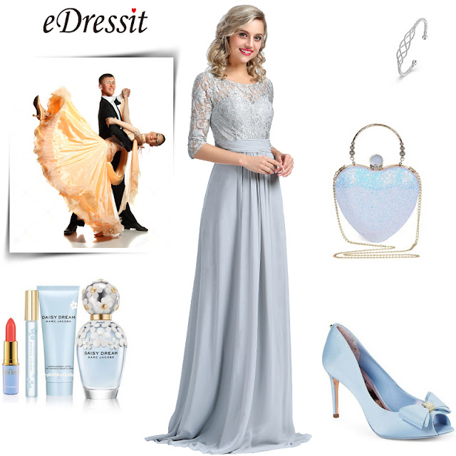 eDressit Long Sleeves Grey Embroidery Lace Prom Gown