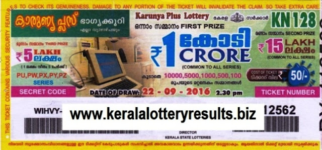 Kerala lottery result official copy of Karunya Plus_KN-133