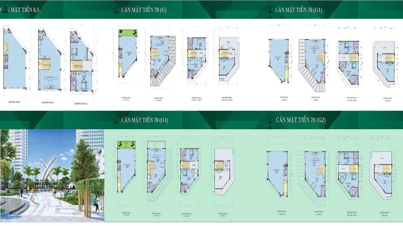 Thiết kế các căn mặt tiền 6,5 - 7 - 7,6m