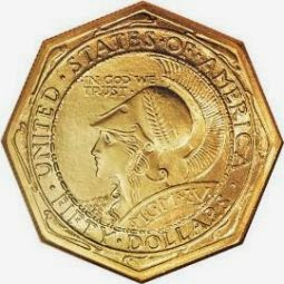 Panama Pacific Exposition Fifty Dollar Gold Coin octagonal version