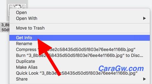 Klik get info pada finder macOS