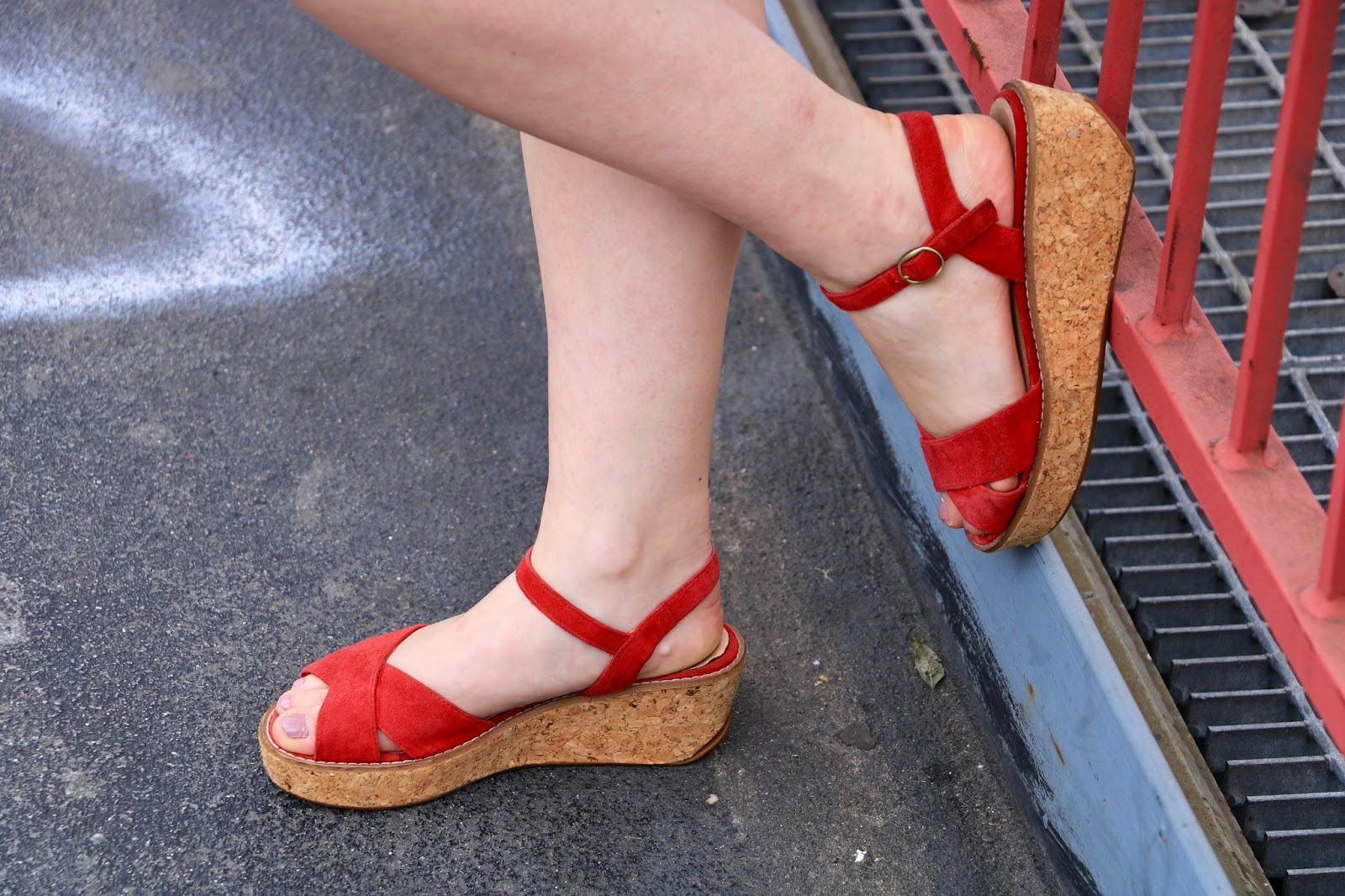 New York fashion blogger Kathleen Harper in red platform sandals