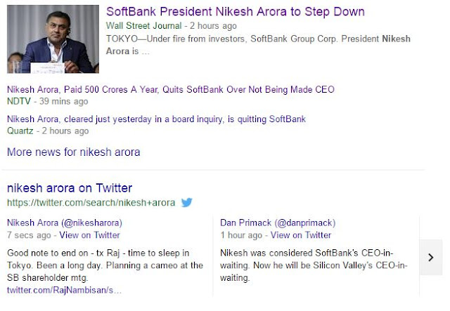 Nikesh Arora Stepped down from Soft Bank