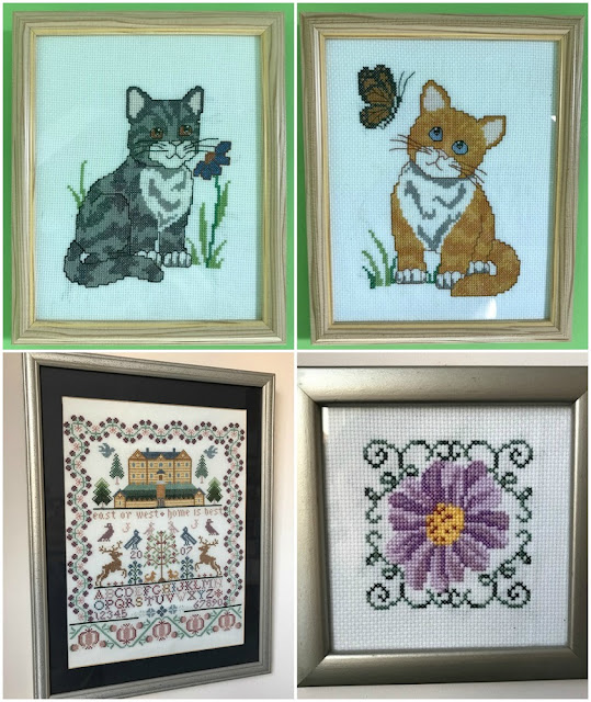 Collage of finished cross stitch pieces