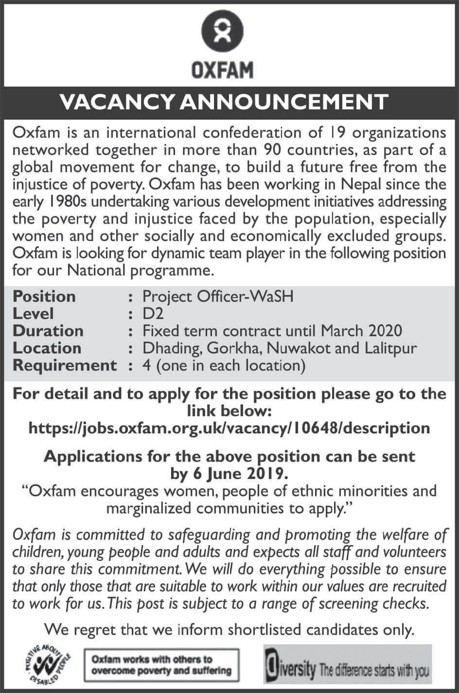 Oxfam Nepal Vacancy Announcement for Project Officers.