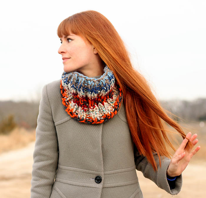 Stash Busting Cowl Free Knitting Pattern by blogger Gina Michele