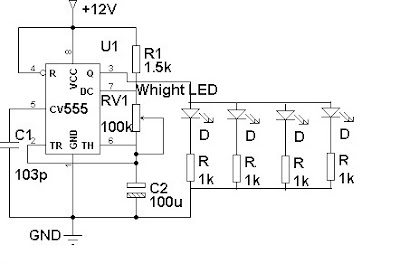 LED Flasher for Cars and Motorcycles Circuit Diagram